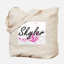 Skyler Artistic Name Design with Flowers Tote Bag