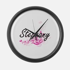 Stephany Artistic Name Design wit Large Wall Clock