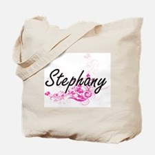 Stephany Artistic Name Design with Flower Tote Bag