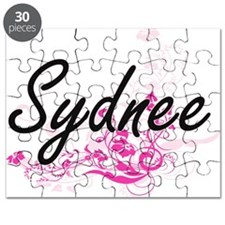 Sydnee Artistic Name Design with Flowers Puzzle