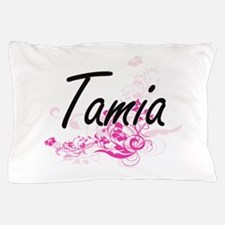 Tamia Artistic Name Design with Flower Pillow Case