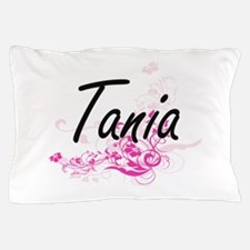 Tania Artistic Name Design with Flower Pillow Case