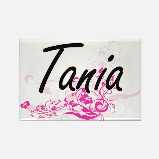 Tania Artistic Name Design with Flowers Magnets