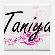 Taniya Artistic Name Design with Flow Tile Coaster