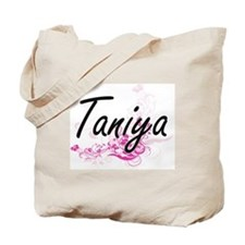 Taniya Artistic Name Design with Flowers Tote Bag