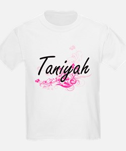 Taniyah Artistic Name Design with Flowers T-Shirt