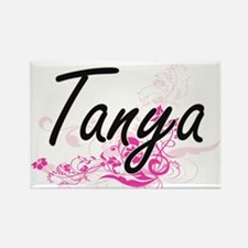 Tanya Artistic Name Design with Flowers Magnets