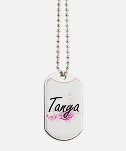 Tanya Artistic Name Design with Flowers Dog Tags