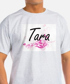 Tara Artistic Name Design with Flowers T-Shirt