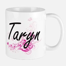 Taryn Artistic Name Design with Flowers Mugs