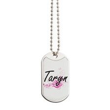 Taryn Artistic Name Design with Flowers Dog Tags