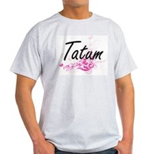 Tatum Artistic Name Design with Flowers T-Shirt
