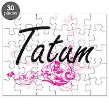 Tatum Artistic Name Design with Flowers Puzzle