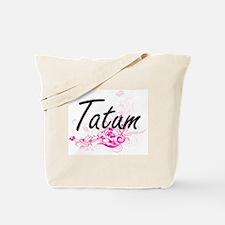 Tatum Artistic Name Design with Flowers Tote Bag