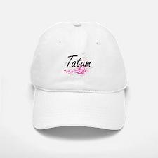 Tatum Artistic Name Design with Flowers Baseball Baseball Cap