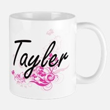 Tayler Artistic Name Design with Flowers Mugs