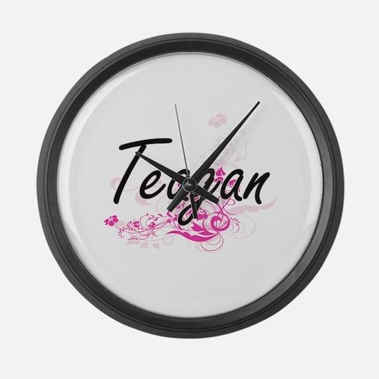 Teagan Artistic Name Design with Large Wall Clock