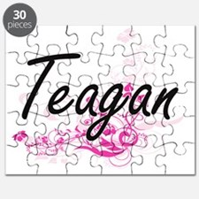 Teagan Artistic Name Design with Flowers Puzzle