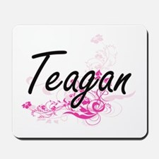 Teagan Artistic Name Design with Flowers Mousepad