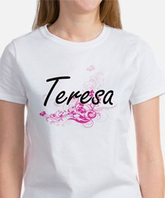Teresa Artistic Name Design with Flowers T-Shirt