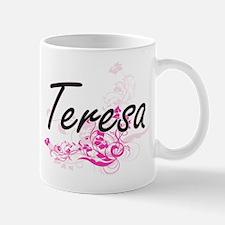 Teresa Artistic Name Design with Flowers Mugs