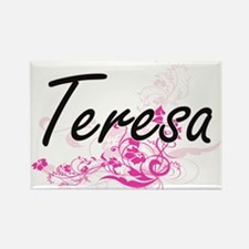 Teresa Artistic Name Design with Flowers Magnets