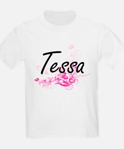 Tessa Artistic Name Design with Flowers T-Shirt