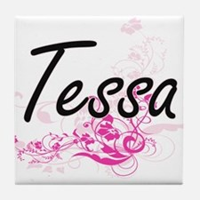 Tessa Artistic Name Design with Flowe Tile Coaster