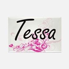 Tessa Artistic Name Design with Flowers Magnets
