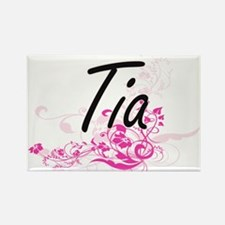 Tia Artistic Name Design with Flowers Magnets
