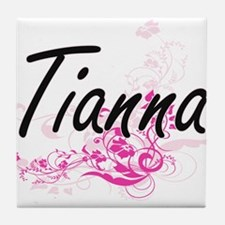 Tianna Artistic Name Design with Flow Tile Coaster