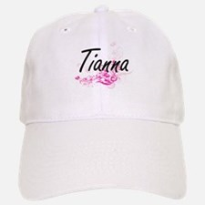 Tianna Artistic Name Design with Flowers Baseball Baseball Cap
