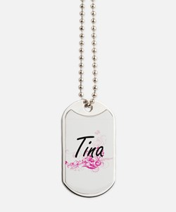Tina Artistic Name Design with Flowers Dog Tags
