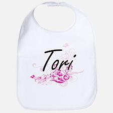 Tori Artistic Name Design with Flowers Bib