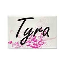 Tyra Artistic Name Design with Flowers Magnets