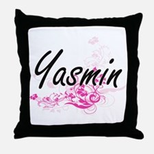 Yasmin Artistic Name Design with Flow Throw Pillow