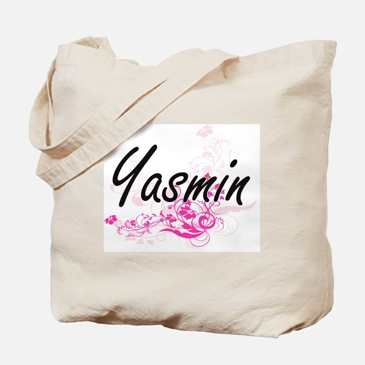 Yasmin Artistic Name Design with Flowers Tote Bag