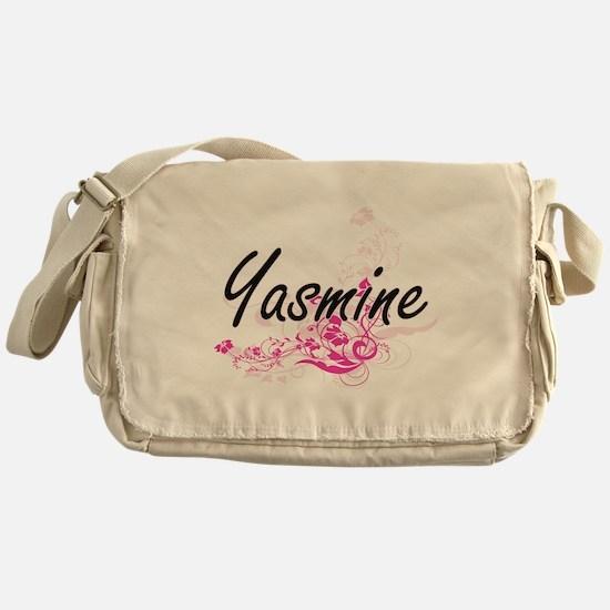 Yasmine Artistic Name Design with Fl Messenger Bag