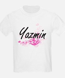 Yazmin Artistic Name Design with Flowers T-Shirt