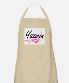 Yazmin Artistic Name Design with Flowers Apron