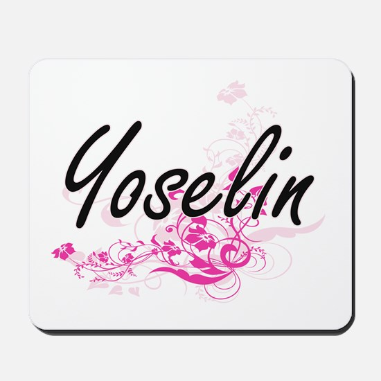 Yoselin Artistic Name Design with Flower Mousepad