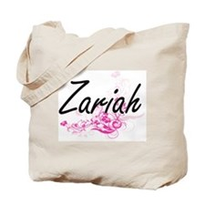 Zariah Artistic Name Design with Flowers Tote Bag