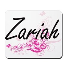 Zariah Artistic Name Design with Flowers Mousepad