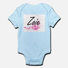 Zoie Artistic Name Design with Flowers Body Suit