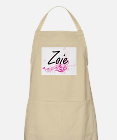 Zoie Artistic Name Design with Flowers Apron