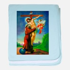 Saint Francis of Assisi Embraces Jesu baby blanket