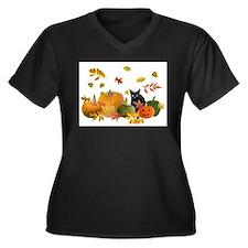Funny Halloween pumpkin Women's Plus Size V-Neck Dark T-Shirt