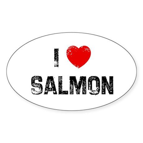 I * Salmon Oval Sticker