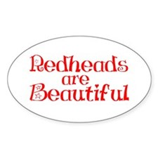 Redheads Are Beautiful Oval Decal