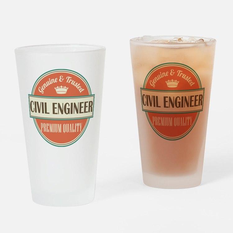civil engineer vintage logo Drinking Glass